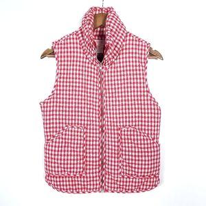 Peach Love California Red Gingham Puffer Vest